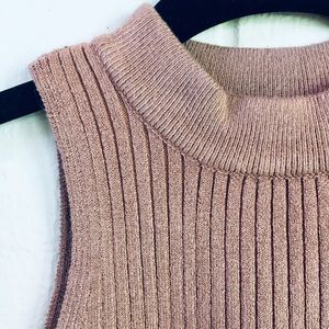 Kendall & Kylie Tops - Kendall & Kylie Taupe Sweater Crop Top